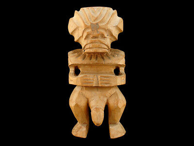 OLD COOK ISLANDS CARVED FERTILITY FIGURE w HUGE PHALLUS  POLYNESIAN WOODEN TIKI