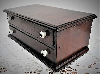 Antique Walnut Two Drawer Spool Cabinet with porcelain pulls Sewing Cabinet