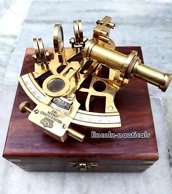Antique Style Brass Sextant W/ Wooden Box Collectible Replica Nautical Gift