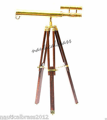 Brass Double Barrel  Telescope With Tripod Stand Nautical-Pirate