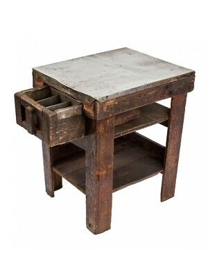 Depression Era Wood And Metal Four-Legged Industrial Table With Single Drawer