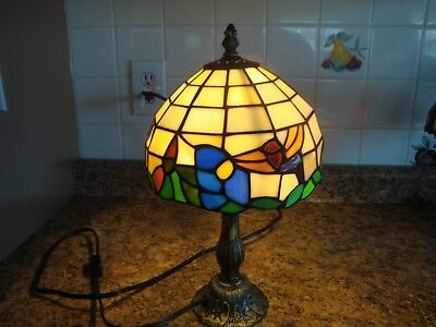 REDUCED Vintage? Tiffany Style Stained Glass? Table Lamp-Flowers & Humming Birds