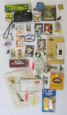 Junk Drawer lot vintage jewelry toys silver coins ephemera cards cameras patches