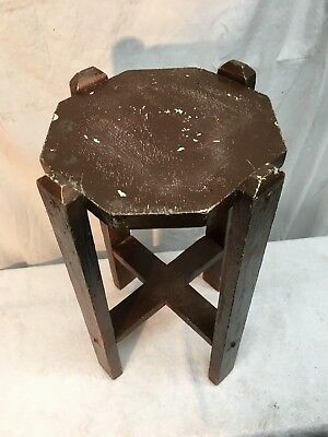 Vintage Solid Wood Primitive Style Shelf Plant Stand Country Cottage 18in tall