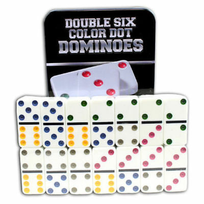 Shine Double Six Colour Dot Dominoes Game Set - 28 Double 6 Dominoes Set Gift