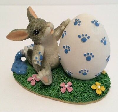 Charming Tails Paint By Paws Fitz & Floyd 88/701 Easter Bunny Painting Egg EUC