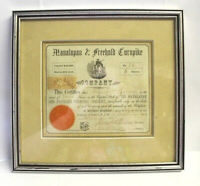 The Manalapan & Freehold Turnpike Stock Certificate Framed