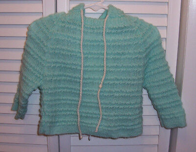 CRADLE CRAFT Vintage Knit Baby Sweater with Hood Long Sleeve Light Green Spain