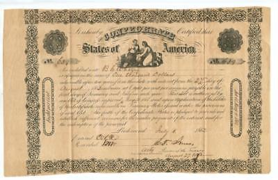 1862    $1,000  Confederate Bond   c. 1136 Issued