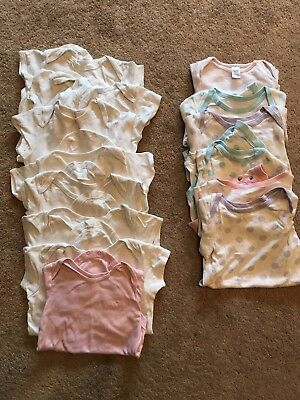 Girls Babygrows And Vests Bundle Size 12-18 Months