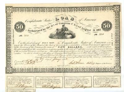 1862   $50      Confederate  Bond.   Only 926 Issued