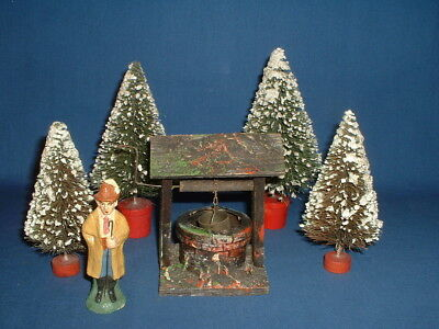 Vintage German Christmas Putz Wooden Well, Composition Shephrd and Brush Trees