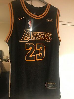 best loved 61276 729f3 #23 LA LAKERS LeBron James NBA Basketball Jersey - black mamba L Nike