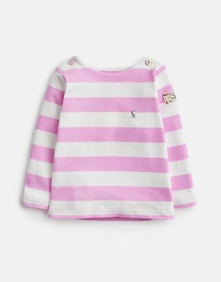 Joules Baby Harbour Jersey Top Shirt in Neon Mauve Stripe