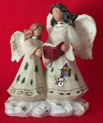 "Singing Angel Figurine, Two Angels Holding Song Book  - Hand-painted 5"" Tall"