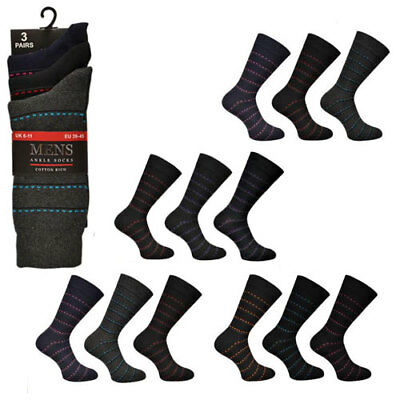 Striped Mens Socks Everyday Or Formal Poly Cotton Mix 3 or 6 Pairs Size 6-11