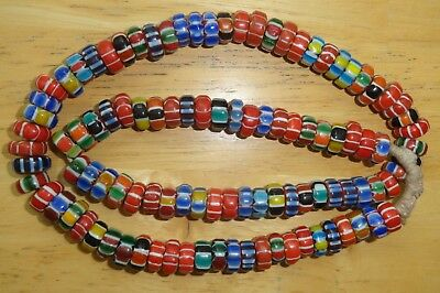 Nepalese Artisan Chevron Glass Bead Necklace...26""