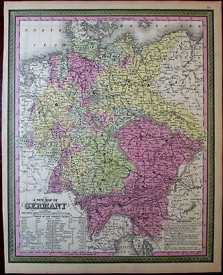 Germany German states Prussia Austria Bavaria 1851 Cowperthwait Mitchell map
