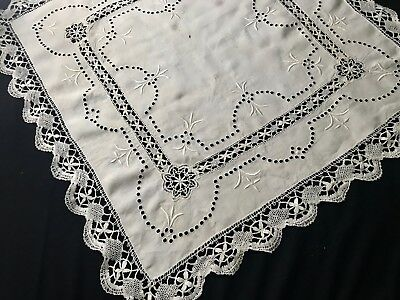 "Antique Tea Tablecloth Bobbin Lace  Hem, Trim, Cutwork Hand Embroidery 32""SQ"