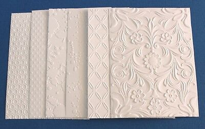 6 x White Embossed Cardstock Card Toppers Graffiti Ink Rhombus Flower Swiss Dots