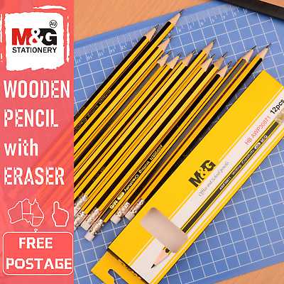 12 x HB Wooden Pencil With Eraser Office Business School Student Art Stationery