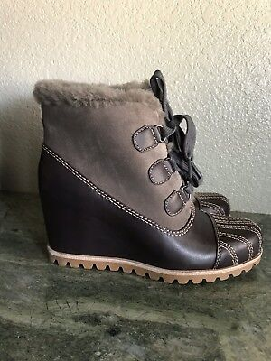 65ee1abffa5 NEW! UGG ALASDAIR Wedge Slate Brown Leather Women's Ankle Booties Size 7