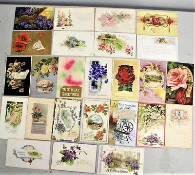 25 Vintage Birthday Postcards From The Early 1900's / 15 Are Embossed #2