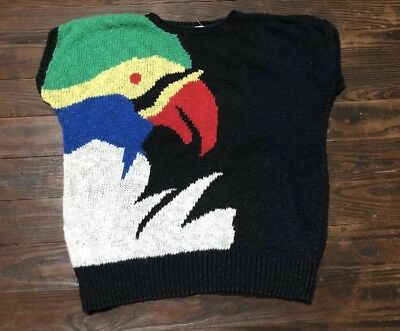 Vtg 80s 90s EASTON PARK Sweater Colorful Bird Sweater Size Large