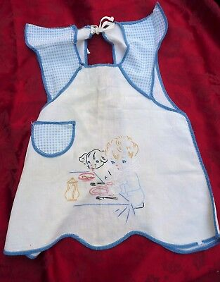 Vintage 1940's Blue-Gingham and white Embroidered Cotton Baby/Toddler Bib/Apron