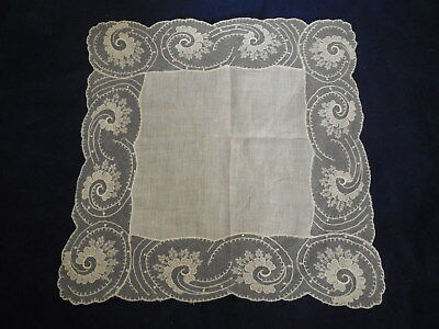Vintage Bridal Handkie White on White Lined Netting and Embroidery Scallop Edge