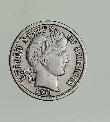 Higher Grade - 1911 Barber Liberty US Silver Dime - Great Detail in LIBERTY *548