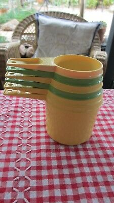 Vintage Tupperware  Measuring Cups complete set of 6 yellow & Green
