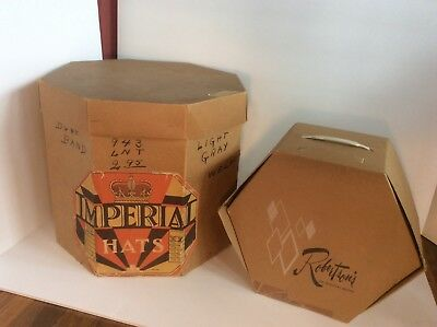 Lot of 2 Vintage Hat Boxes Great Old Hat Boxes Imperial & Robertson of S Bend