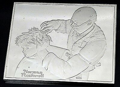 """Franklin Mint 1973 Sterling Silver Norman Rockwell's """" At The Barber """" Ingot"""