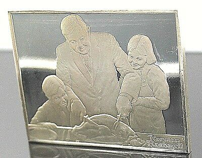 """Franklin Mint 1973 Sterling Silver Norman Rockwell's """"The Holiday Dinner """" Ingot"""