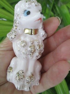 """Rare Vintage Porcelain Pink French Poodle With Gold Accents 3"""" Japan Figurine"""