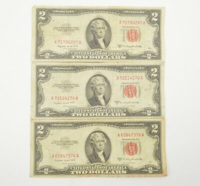 Lot of (3) Red Seal $2.00 United States Notes - Seen Better Days *415