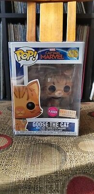 FUNKO POP W/PROTECTOR Captain Marvel : Goose The Cat FLOCKED Boxlunch Exclusive