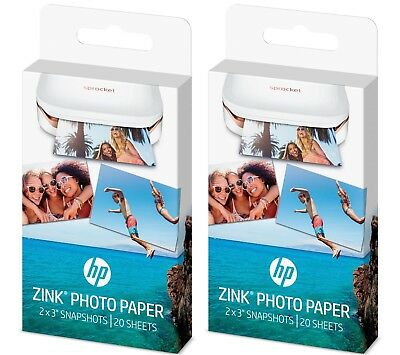 """(2) HP ZINK Sticker Photo Paper for HP Sprocket Printer (2""""x3"""") 20 Sheet boxes"""