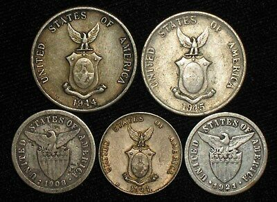 5 Silver Coins from the Philippine Islands.  1908-1945.   No Reserve!!