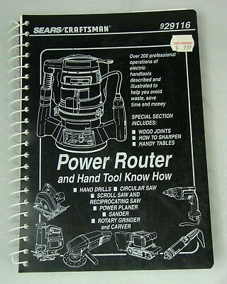 SEARS CRAFTSMAN POWER ROUTER Hand Tool Know How Book 929116 DIY