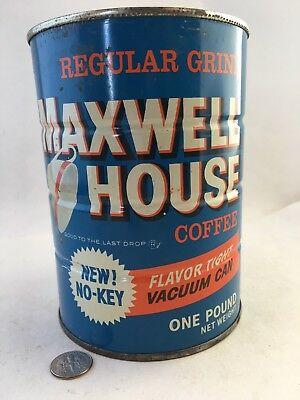 """Vintage, one pound, Maxwell House coffee can. """"New. No-Key"""" 5 1/2 inches. Good."""