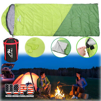 Single Envelope Sleeping Bag Lightweight Waterproof Season Camping Hiking Green