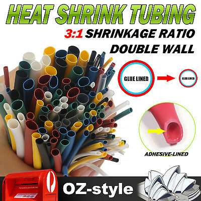 3:1 Ratio Double Wall Heat Shrink Tube Sleeving Wrap Protects Waterproof Harness