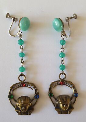 Exquisite Antique Egyptian Revival Gold Pharaohs Drop Dangle Jeweled Earrings