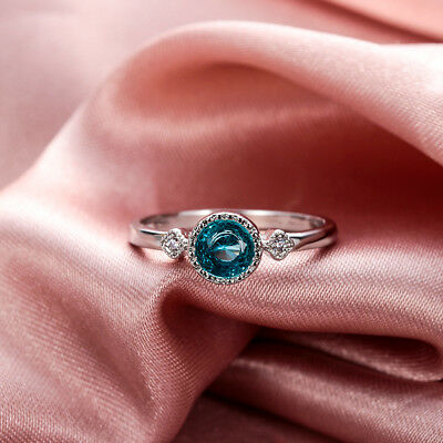 Women Jewelry Topaz Ring Ice Blue Sapphire  925 Sterling Silver Size 5-10