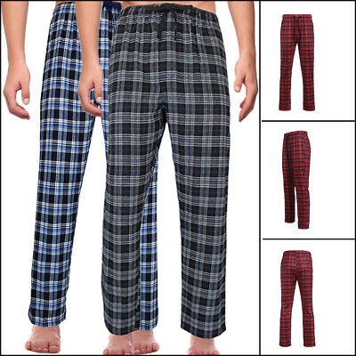 Mens Casual Plaids Pajama Sleepwear Pyjamas Cotton Pants Sleep Bottoms Plus size