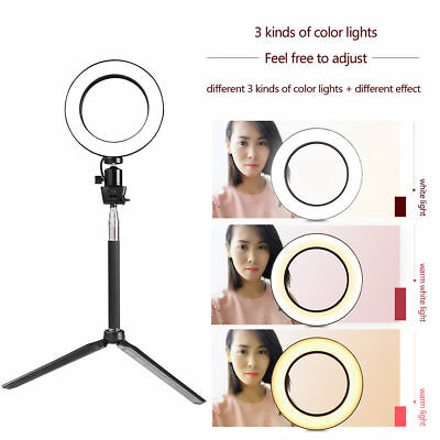"""New 8"""" 5W Dimmable 5500K LED Ring Light Kit Stand For Makeup Phone Camera Selfie"""
