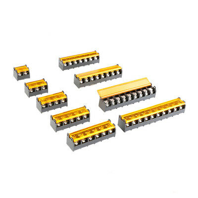 9.5mm Pitch Covered PCB Barrier Screw Terminal Block Strip 2-10 Pin Way 300V 30A