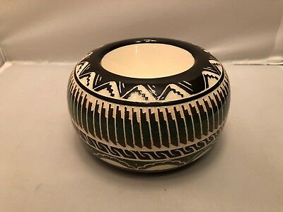 Navajo, J Hayes, Green,Black and white.Circular pottery Vase
